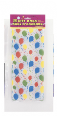 Balloons Pattern Clear Cello Bags 20pk